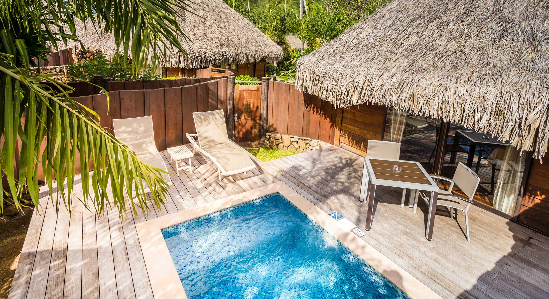 Accommodation premium garden pool bungalow moorea hotel for Garden pool bungalow