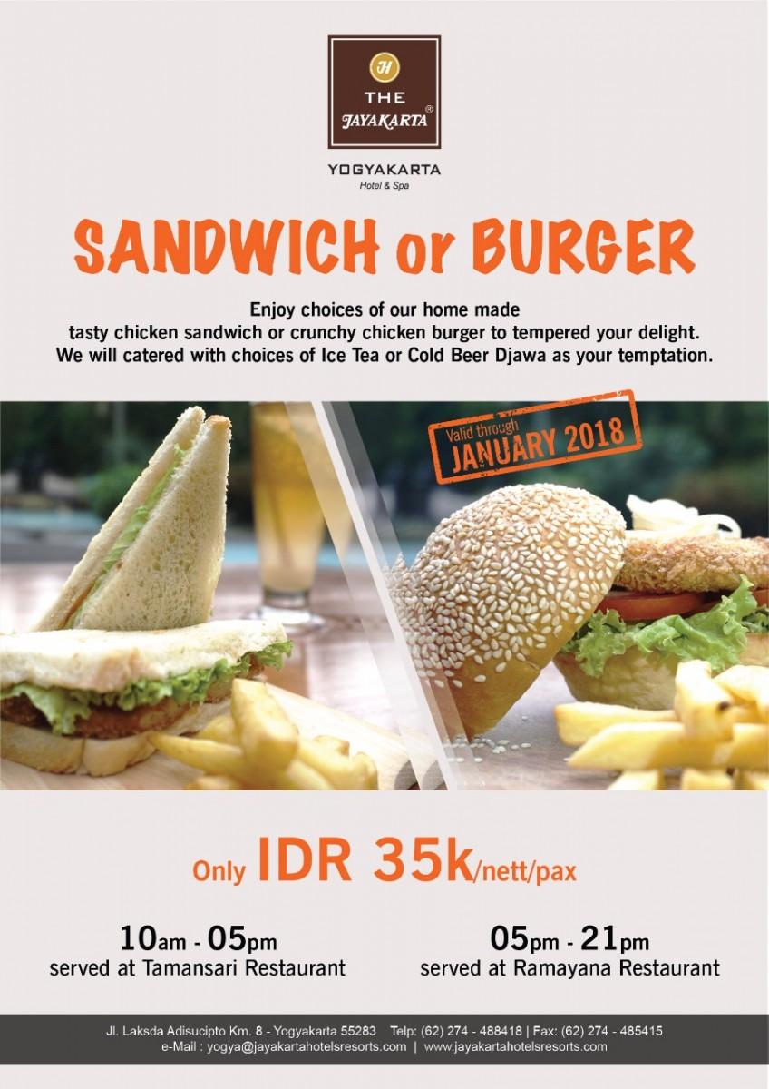 Sandwich or Burger di Hotel Jayakarta Yogyakarta
